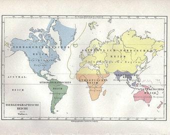 Vintage Map World Globe Earth Original 1902