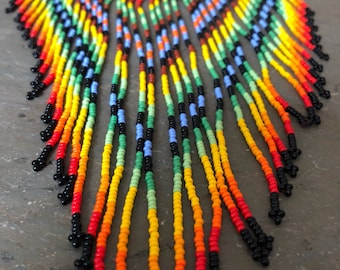 Beaded Bib Necklace ~ tribal statement necklace~ rainbow