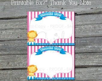 Circus Thank You Card | Pink Circus Thank You Note | Printable 5x7 Template | Easy | Thanks for coming | INSTANT Download