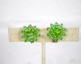 Green Beaded Flower Clip On Earrings