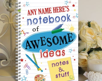 Personalised A5 Notebook Notepad Wirebound Softbacked Awesome Ideas Notes Themed