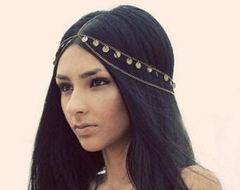 Gold Bridal Head Chain, Gypsy Head Chain, Gold Boho Head Chain, Bohemian headpiece, Forehead Piece, Hair Jewelry,Bridal Hair Piece