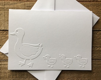 Duck Card Set, White Embossed Cards, Greeting Card, Stationery Set, Duck and Duckling Embossed Cards, Baby Shower Cards, Blank Note Cards