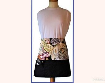 Black Floral 3 pocket Half Apron , Utility Apron, Vendor Apron, Teacher Apron, Cleaning Apron, Waitress Apron, Craft Apron, Toolbelt Style