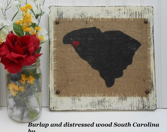 SOUTH CAROLINA Burlap State Sign, Ready to Hang, Primitive, Rustic  beachy, Painted Ivory, Hand Distressed, vintage decor, house, down south