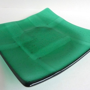 Square Fused Glass Plate In Emerald Green By BPRDesigns