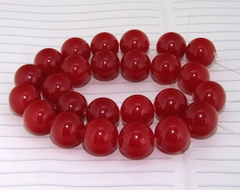 """strand Round Red Jade Beads ----- 16mm ----- about 24Pieces ----- gemstone beads--- 15"""" in length"""