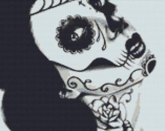 Modern Cross Stitch Kit By Carissa Rose - 'Neck Tattoo' - Day of the Dead - Sugar skull