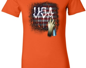 Ladies USA Spray Paint Longer Length Tee T-Shirt 21665D2-6004