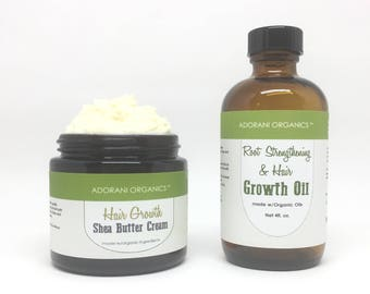 Hair Growth Oil & Shea Butter Set    Powered with Essential Oils: Rosemary, Peppermint, Cedarwood by Adorani Organics