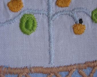 Cotton embroidered tea towel pear tree