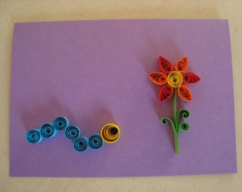 Quilling - chenille with its flower card
