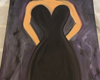 16inx20in canvas- Lady in Black oil painting