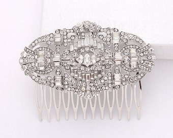 Crystal Silver Hair Comb Art Deco Bridal Hairpiece Old Hollywood Gatsby Wedding Accessories Rhinestone Hair Combs Headpiece Jewelry