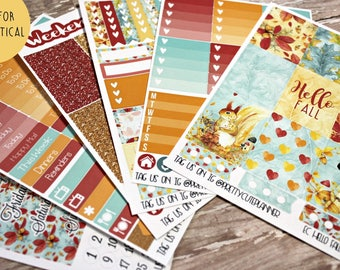 Fall Planner Stickers - Fits Erin Condren Vertical - Hello Fall Planner Stickers - Ala Carte Weekly Stickers - Fall Floral Planner Sticker