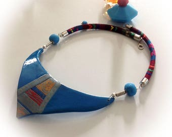 Necklace, blue, polymer clay.