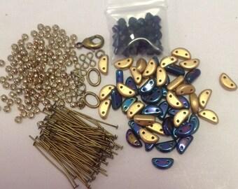 DIY Half Moon Bracelet, with Swarovski Fringe. Blue Iris and Matte Gold