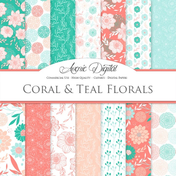 Coral And Turquoise Floral Digital Paper. Scrapbook