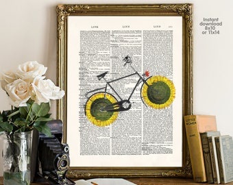 flower bicycle poster - bicycle poster - living room decor -  Poster Dictionary art, hipster Art - Print Wall Decor, Nursery Wall Art