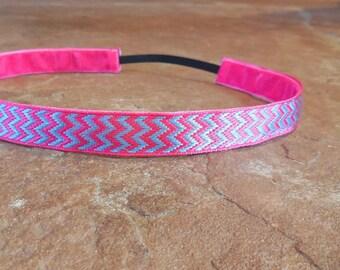 Pink and blue chevron headband. chevron headband, pink and blue headband, girls pink headband, women's sports headband, hair accessories