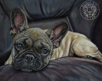 French Bulldog Fine Art Canvas Print - 40 x 60cm