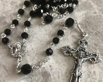 Black Handmade Rosary, 5 Decade Rosary, Catholic Rosary