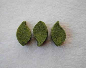 30 Piece Die Cut WOOL Felt Leaves, Style No. 6 in Relish