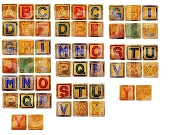 Vintage Childrens ABC Alphabet Toy Letter Blocks in 1 inch size Digital Collage Sheet
