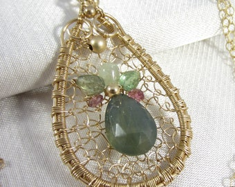 Caught in a Web Necklace - Sapphire and Tourmaline in 14k Gold Filled Wrapped Pendant
