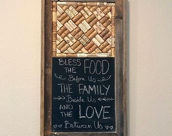 Wine cork bulliten board with chalkboard in Barnwood frame, rustic home decor, wine lover gift, Housewarming gift, Farmhouse decor