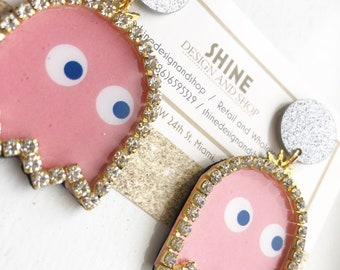Pac man ghosts! Handcrafted earrings