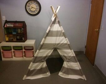 "Play Tent Large Gray and White Stripe   6"" Wide Gray Stripe Teepee also in Eight other colors teepee guy. Pictured in storm  Play Teepee"