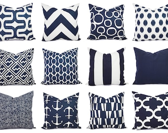 One Navy Pillow Cover - Decorative Pillows - 18 x 18 Inch Navy Blue Throw Pillow Cover - Decorative Pillow Cushion Cover Navy Blue Pillows