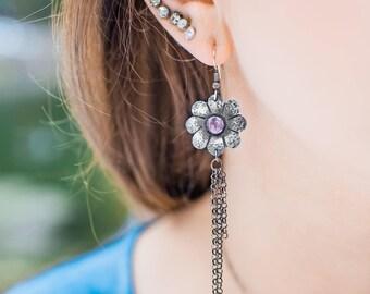 Flower Dangle Earrings, Long Boho Earrings, Floral Jewelry, Amethyst Earrings, Opal Earrings, Long Dangle Earrings, Silver Earrings