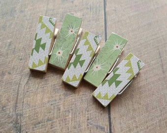 Fridge Magnets. Green Aztec. Cactus Thorns. Clothespin Magnets. Mini Clothespins. Decorative Clothespins. Magnet Clips. Office Decor.