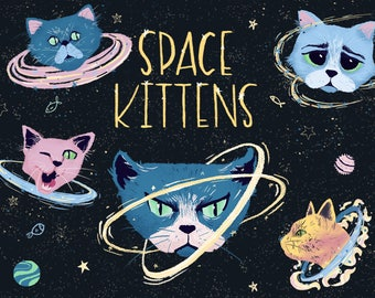 Space kittens clipart, cats clipart, pets clipart, space planets clipart, space Illustration, cats digital, kids clipart, kitty, cat clipart