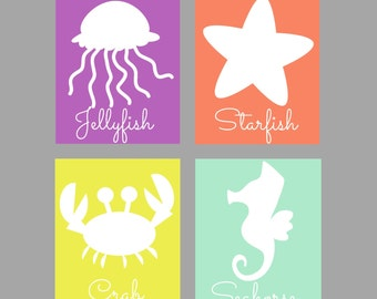 UNDER The SEA NURSERY Art - Girl's Nursery Decor - Ocean Nursery Wall Art - 4 piece Print Set