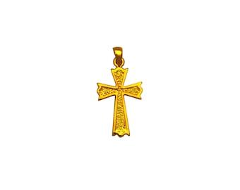 14K Solid gold textured cross pendant