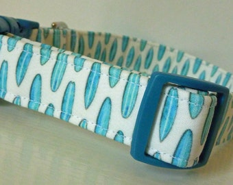"Beach Surfing Dog Collar - Girl/Boy Dog Collar - Tiny Turquoise Surf Boards Surfboards on White - Nautical Dog Collar - ""Surf's Up"""