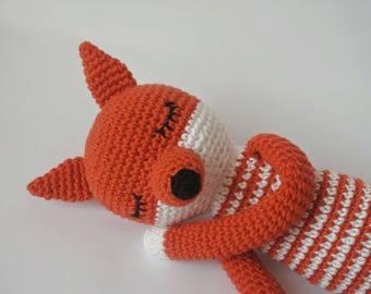 Fox stuff animal fox plush baby toy fox amigurumi animal toddler gift for baby red fox doll knitted toy fox sleepy made to order