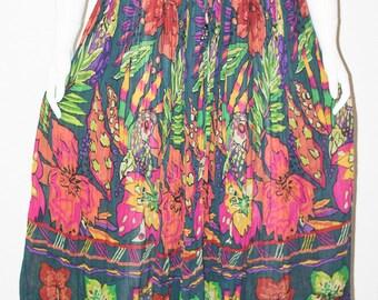 Plus Size Vintage Skirt Maxi Skirt Floral Skirt