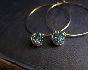Druzy Earrings,Gold Druzy Earrings,Gold Hoops,Gold Hoop Earrings,Geode Earrings,Teal,Druzy Earrings Gold,Geode Jewelry,Dangle Hoops,Druzy