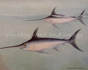 Swordfish Art Print 1924 Vintage Lithograph Fish Watercolor Home Office Fisherman's Decor Sportsman Angling Big Game Fishing Murayama