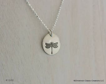 Sterling Silver Dragonfly Hand Stamped Necklace (#1202)