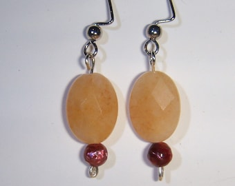 SALE 40 PERCENT OFF Nectarine Earrings in Jade and Pearls