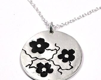 Black Cherry Blossom adjustable necklace. Sterling silver.