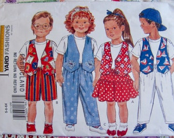 Butterick 3723, 1 Yard Clothing for Girls and Boys Vest,  Tops, Skirt and Shorts, Pants, Sewing Pattern, Childs Sizes 5,6 and 6X, Uncut