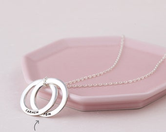 Mother's Day Gift - Personalized Gift for Mom - Kids' Name Necklace - Russian Ring Necklace - Interlocking Ring Necklace - Circle Necklace