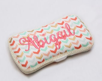 Personalized Wipes Case - Coral, Mint, Gold Chevrons