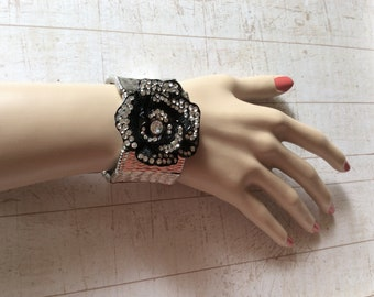 Silver metal bracelet, black flower bracelet, rhinestones bracelet